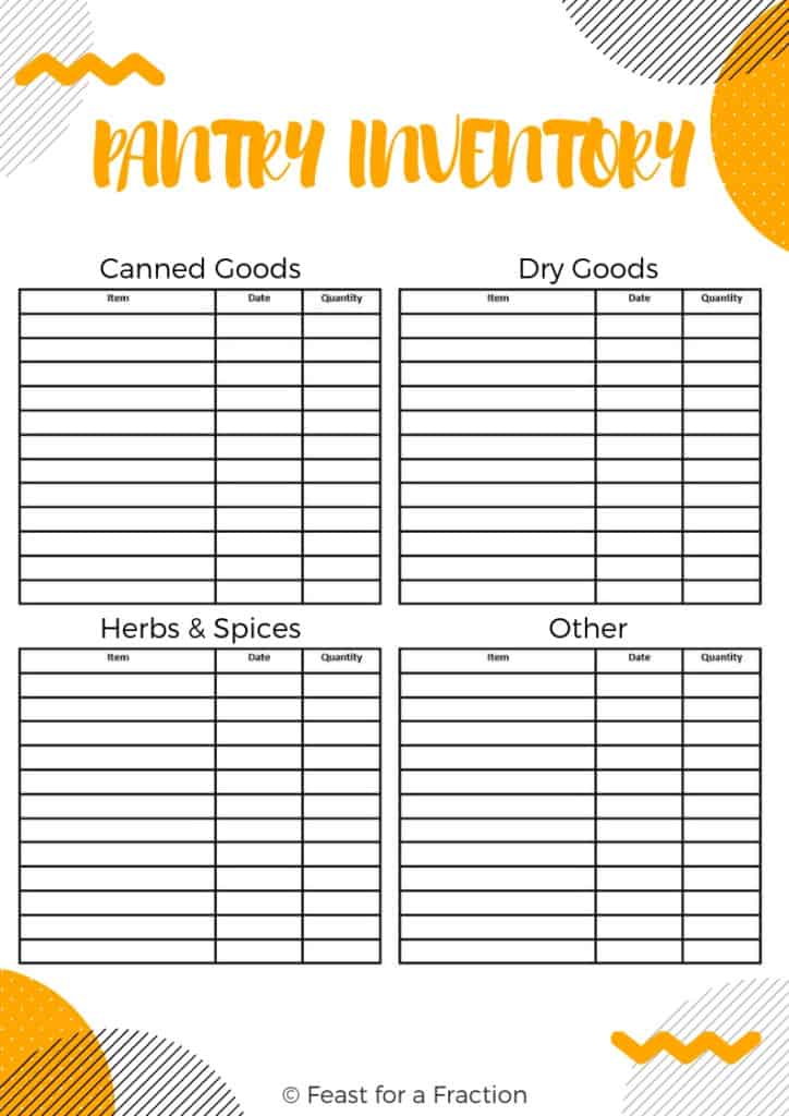 pantry inventory printable document