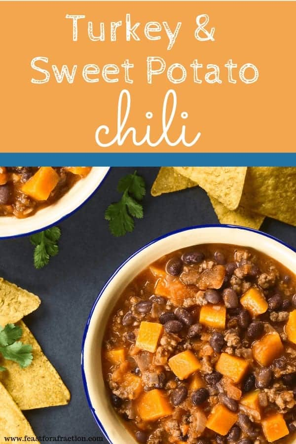 turkey and sweet potato chili in bowl with chips