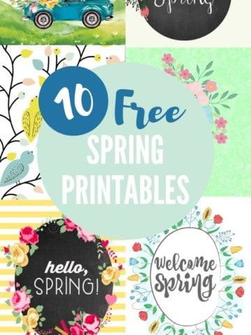10 Free Spring Printables graphic collage