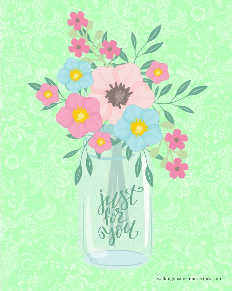 vase with flowers printable graphic