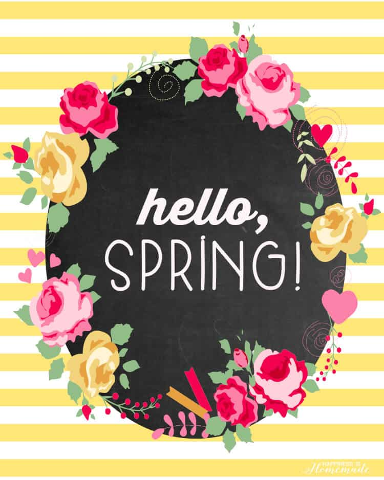 hello spring printable graphic