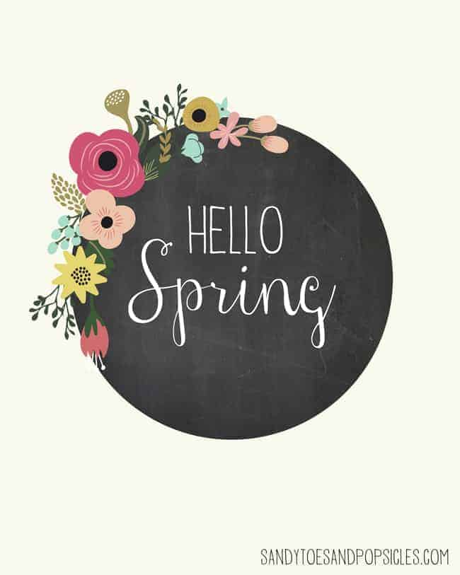 hello spring chalkboard with flowers graphic