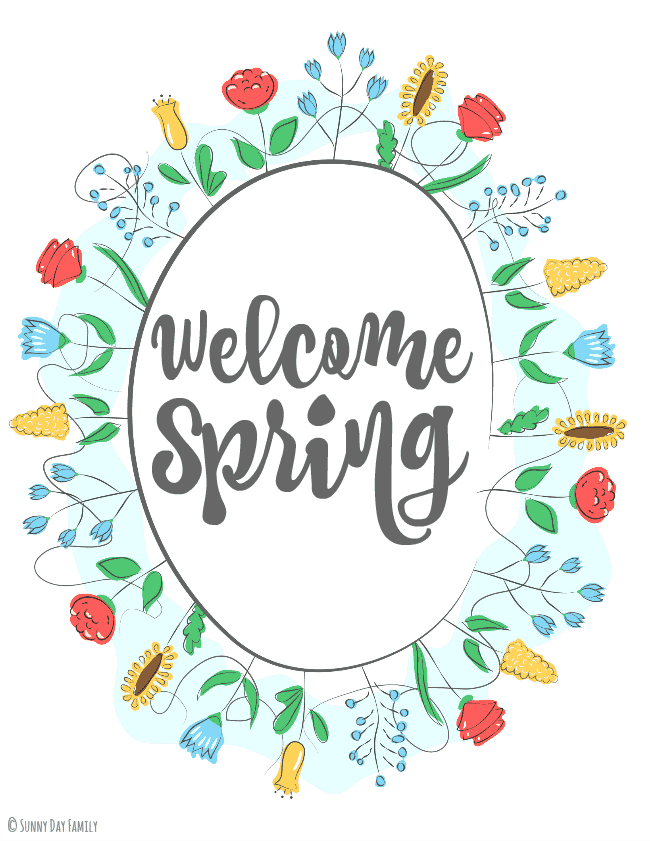 welcome spring wreath graphic with flowers