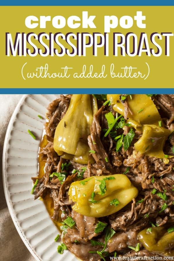 pot roast with pepperoncini peppers on white plate with title graphic
