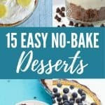 collage of four no-bake desserts with title graphic