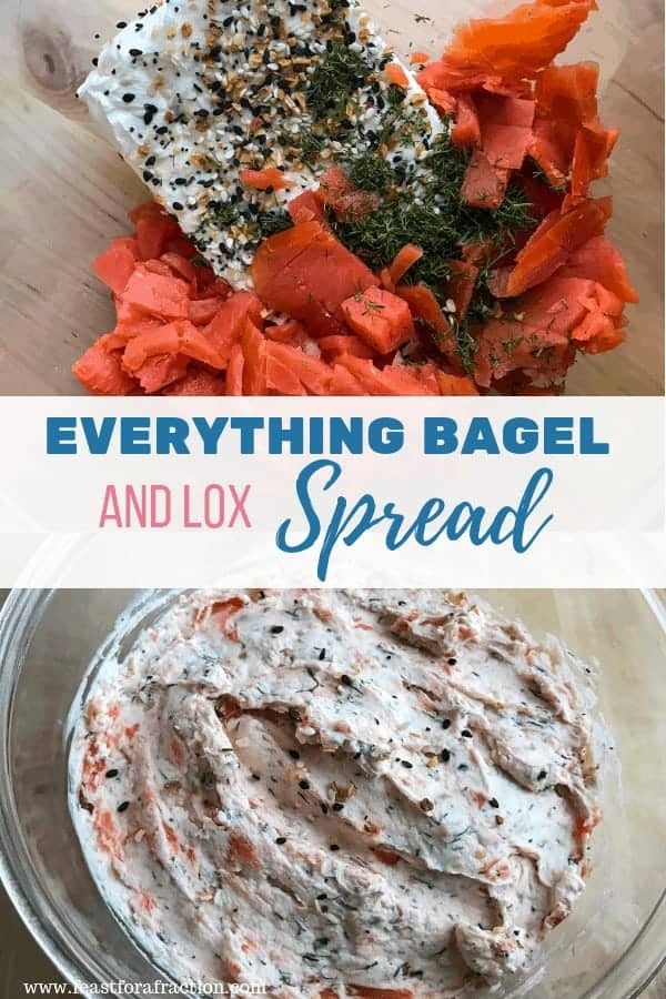 bowl of cream cheese smoked salmon fresh dill and everything bagel seasoning