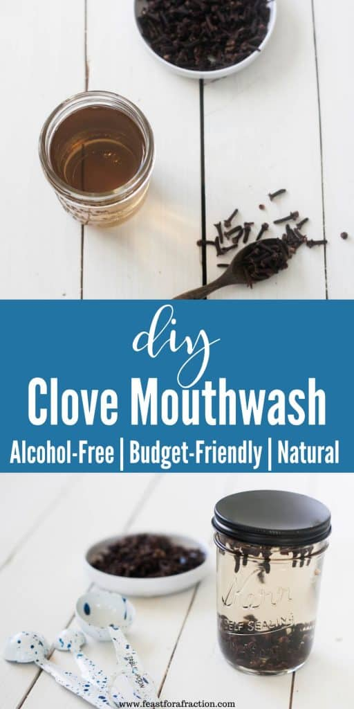 collage image of dried cloves and clove mouthwash in mason jar