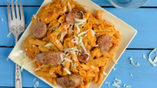Pumpkin Penne Pasta with Sausage, Greek Yogurt, and Thyme - The Artisan Life