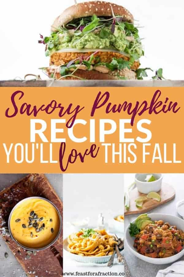 photo collage of savory pumpkin dishes with title text