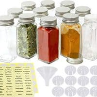 12 Square Spice Bottles (4oz) w/ Label Set