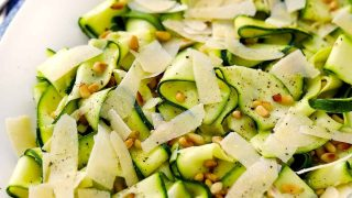 Zucchini Ribbon Salad with with Lemon, Parmesan, and Pine Nuts