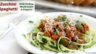 Zucchini Spaghetti With Turkey, Mushrooms & Peppers