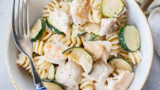 Chicken zucchini pasta with creamy lemon garlic sauce