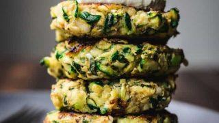 Vegan Zucchini Fritters with Lemon Cashew Cream