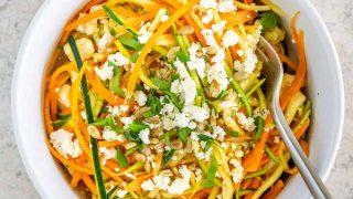 Spiralized Zucchini Salad with Feta and Lemon Garlic Dressing