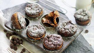 Flourless Zucchini Chocolate Muffins