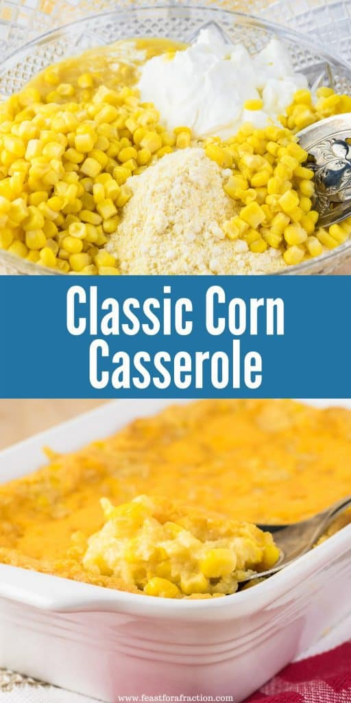 collage of corn casserole ingredients and cooked casserole in white dish