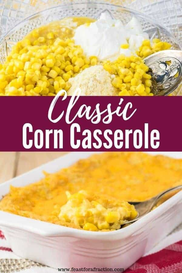 "ingredients for corn casserole in a glass bowl with spoon with heading text ""Classic Corn Casserole"""