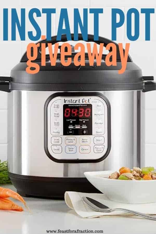 instant pot sitting on gray counter with bowl of soup, spoon and whole carrots