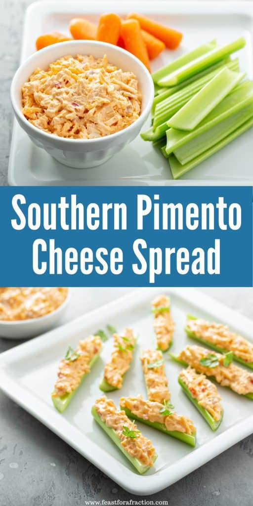 collage of pimento cheese spread on square white plates