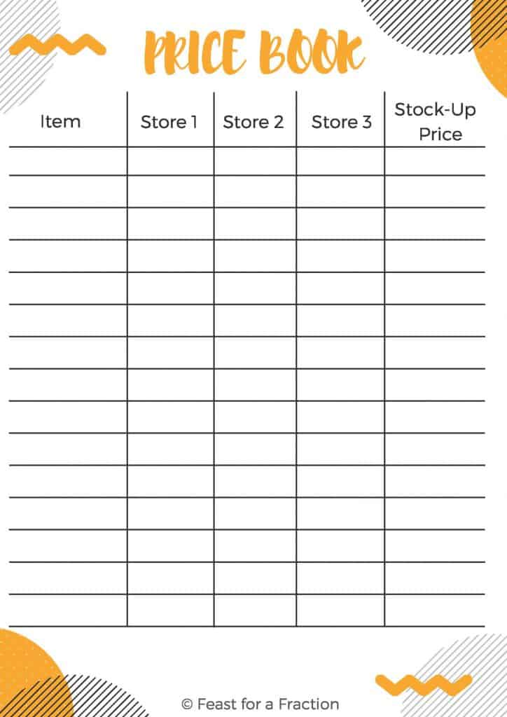 "printable document labeling ""Price Book,"" Item, Store 1, Store 2, Store 3 and Stock-Up Price"