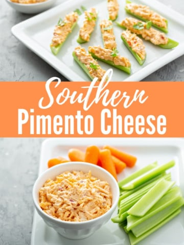 southern pimento cheese spread in a white bowl sitting on a white platter with carrots and celery