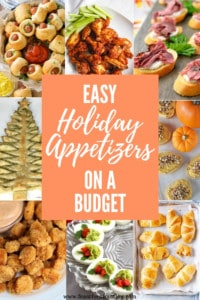 "collage of appetizer images with overlay text ""easy holiday appetizers on a budget"""