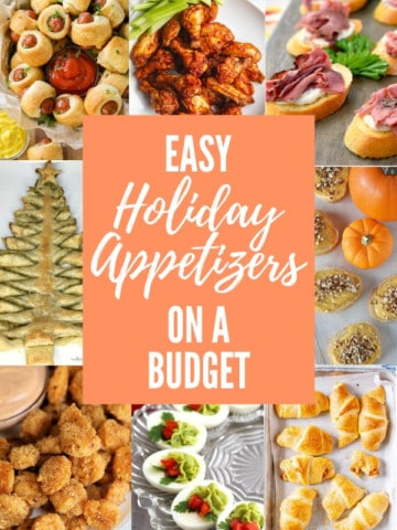 """collage of appetizer images with overlay text """"easy holiday appetizers on a budget"""""""