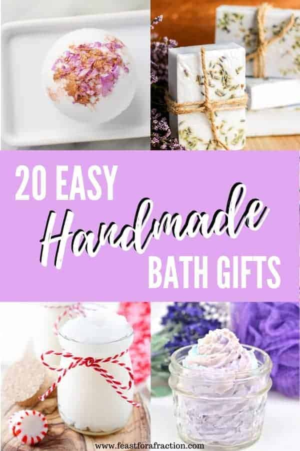 "collage images of handmade bath gifts in jars with header text ""20 Easy Handmade Bath Gifts"""