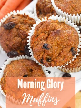"morning glory muffins sitting on white platter with title ""Morning Glory Muffins"""