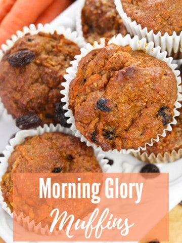 "morning glory muffins sitting on white platter with title ""Morning Glory Muffins"""