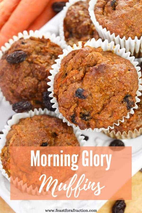 Morning Glory Muffins are the perfect freezer-friendly portable breakfast.  Chock full of fruits, vegetables and nuts, they will keep you full all morning.  #breakfastrecipes #freezerfriendly #batchcooking #muffins
