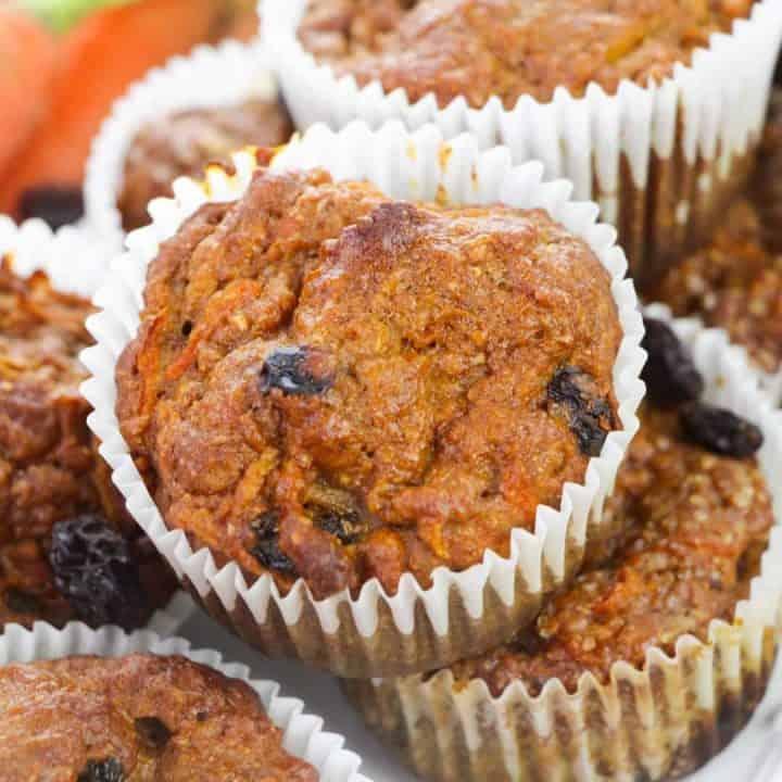 morning glory muffins sitting on white platter