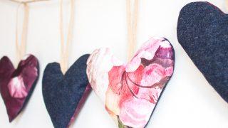 Heart Garland using Scrap Fabric