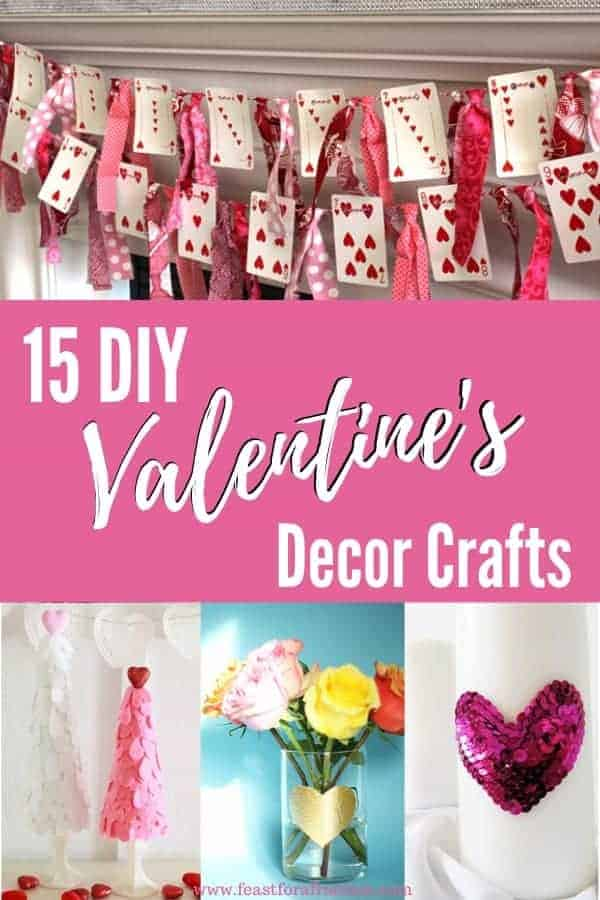 collage image of DIY Valentine's decor crafts
