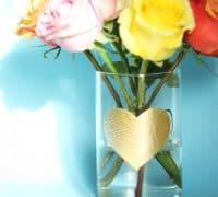 DIY Gold Leaf Heart Vase