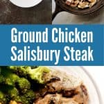 collage on process images of chicken salisbury steak