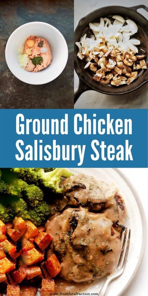 collage on process images of chicken salisbury steak