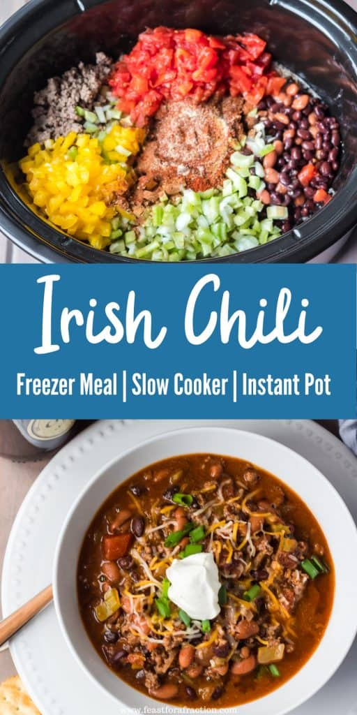 """collage image of irish chili ingredients and bowl of irish chili with title text """"Irish Chili Freezer Meal, Slow Cooker, Instant Pot"""""""