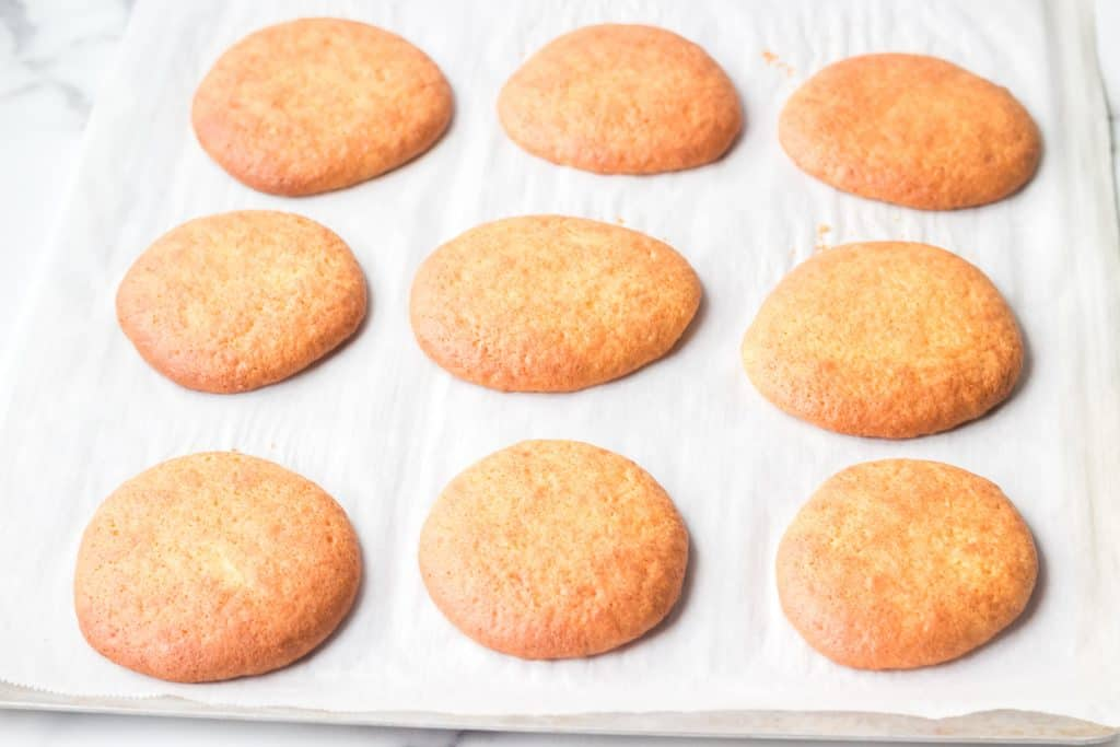 cake mix whoopie pies on baking sheet