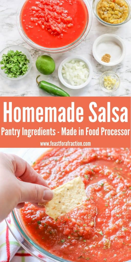 collage graphic with salsa ingredients and prepared salsa