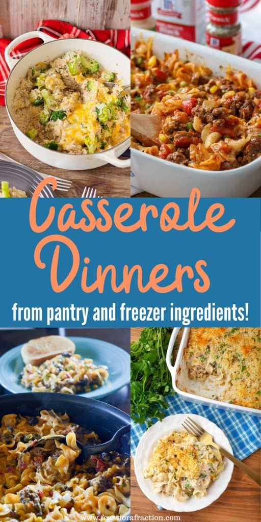 collage of four casserole dinners
