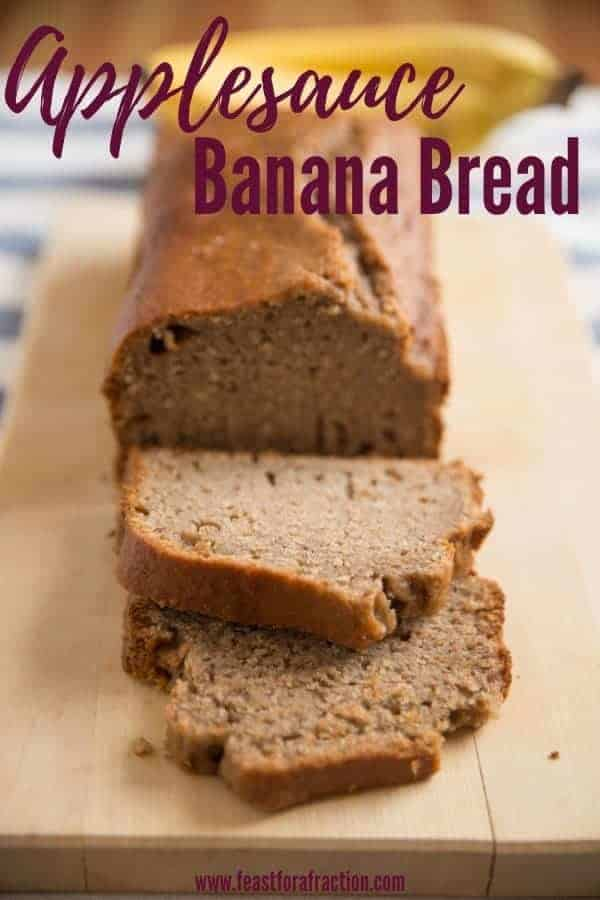 applesauce banana bread slices with title text