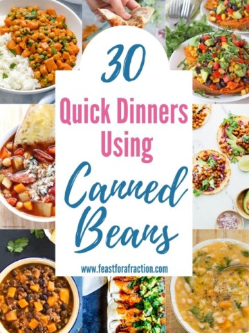 collage of recipes using canned beans