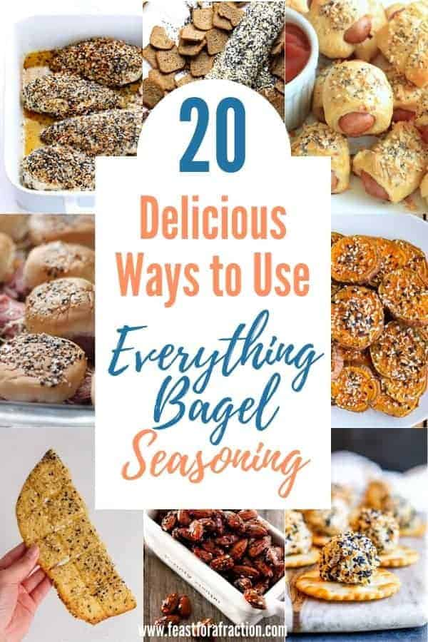 "collage of images of recipes using everything bagel seasoning with title text ""20 Delicious Ways to use Everything Bagel Seasoning"""