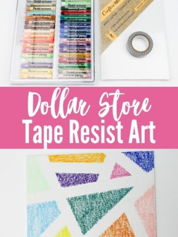 """collage image with oil pastels, white canvas, washi tape and finished art project with title text """"Dollar Store Tape Resist Art"""""""