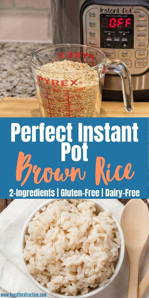 """collage image of instant pot with measuring cup of brown rice and white bowl of cooked brown rice with title text """"Perfect Instant Pot Brown Rice"""""""