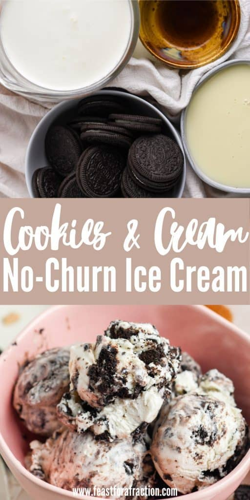collage image of cookies and cream ice cream ingredients and pink bowl filled with ice cream