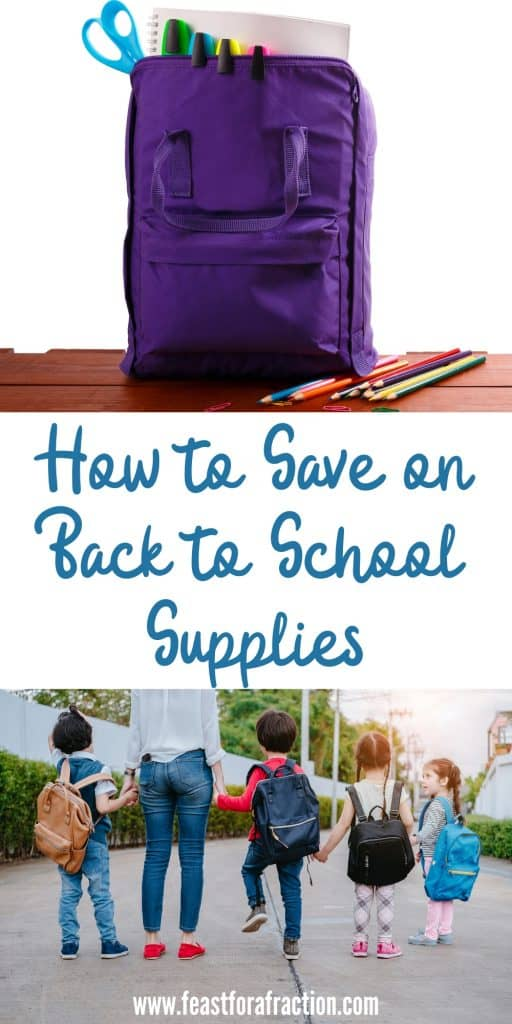 collage image with purple lunch box with school supplies sticking out and parent with children wearing backpacks