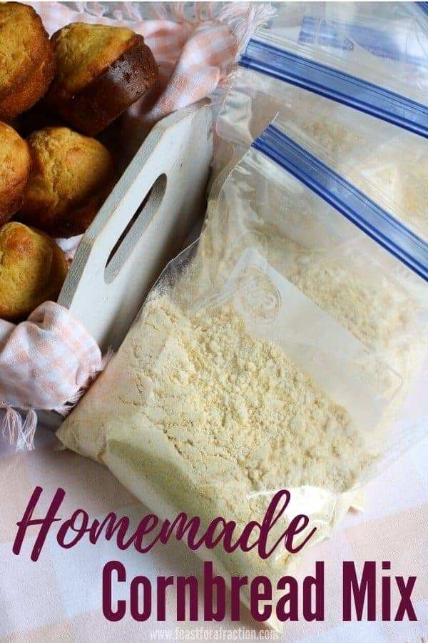 "portioned bags of cornbread mix with title text ""Homemade Cornbread Mix"""